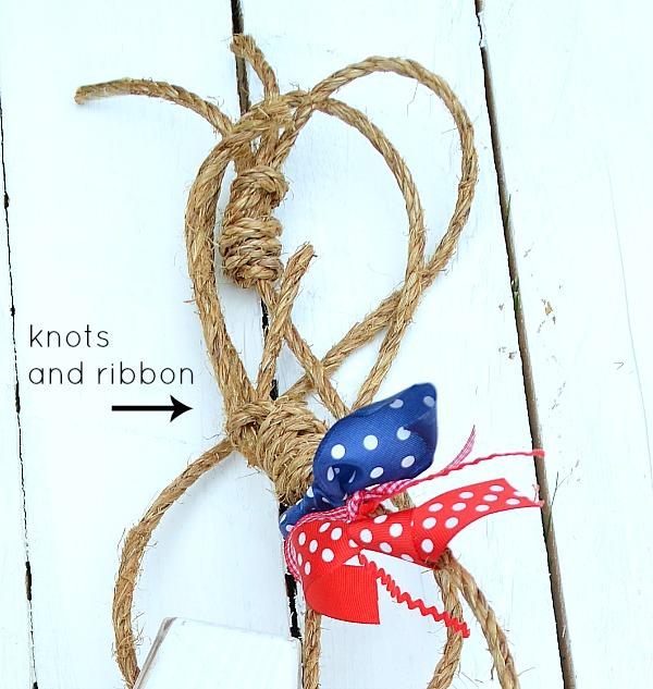 knots and ribbon to make diy buoys