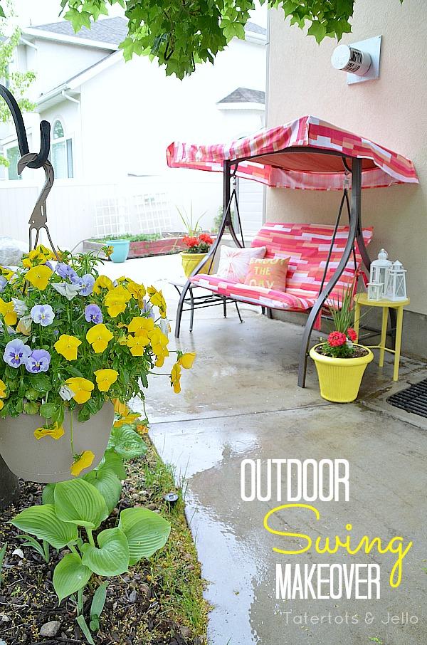outdoor swing makeover project at tatertotsandjello.com
