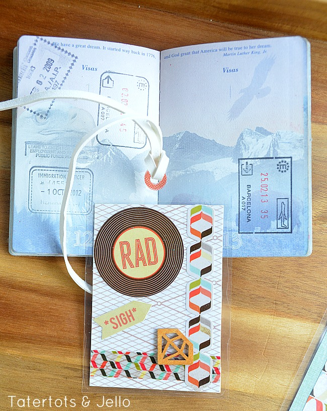 make luggage tags and laminate them at tatertots and jello