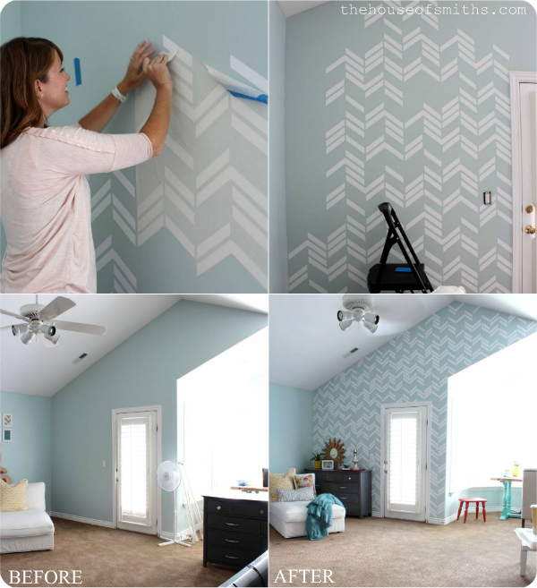 Scattered Herringbone vinyl decal wall - thehouseofsmiths.com
