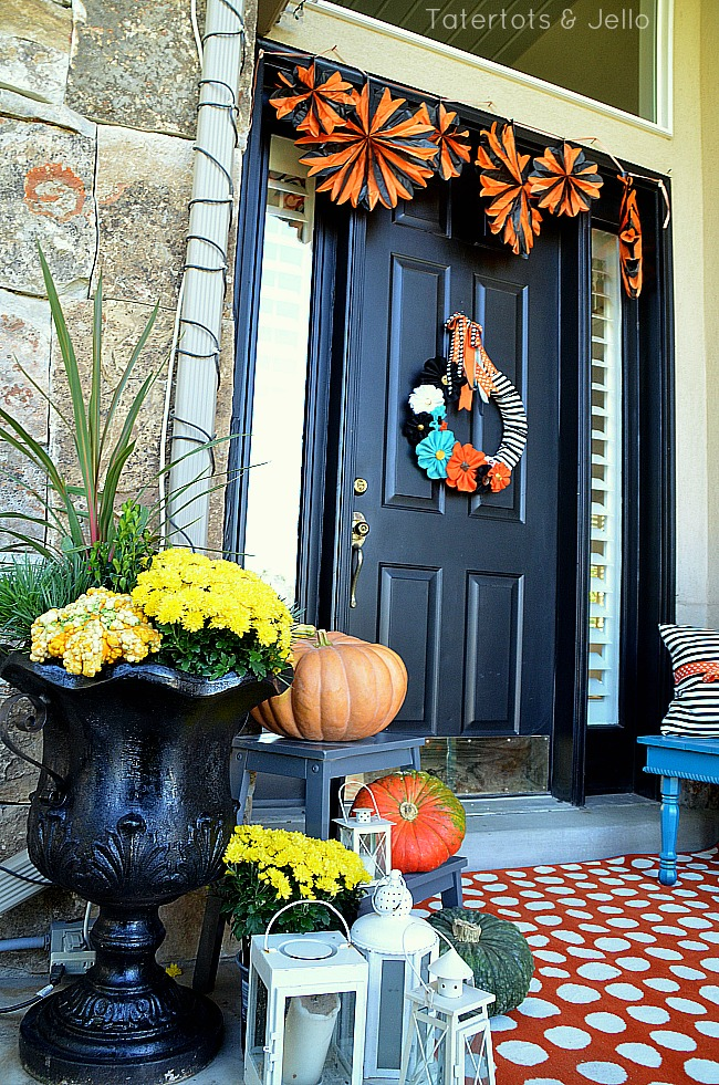 fall dots and stripes porch