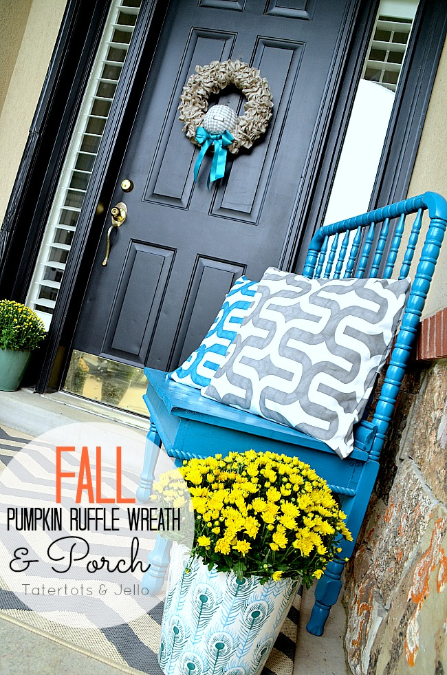 fall pumpkin wreath and porch at tatertots and jello