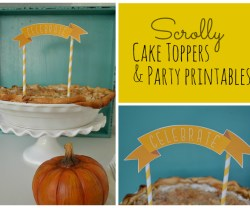 scrolly cake toppers and party printables