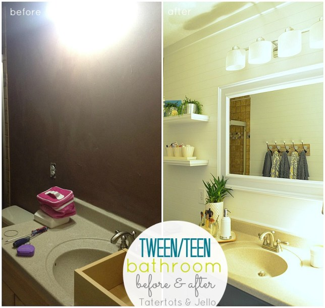 before and after teen bathroom at tatertots and jello