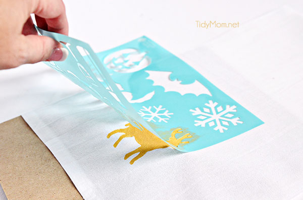 Stenciled Holiday Tea Towel