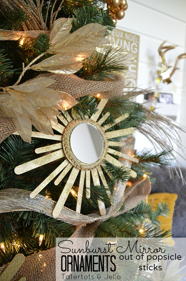 sunburst mirror ornaments out of popsicle sticks at tatertots and jello