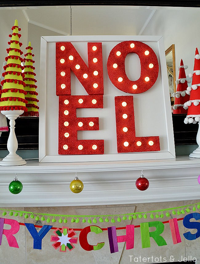 NOEL styrofoam marquee letters at tatertots and jello