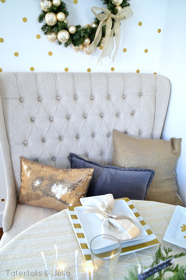 gold and grey banquette decor