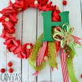 holiday canvas ruffle wreath at tatertots and Jello