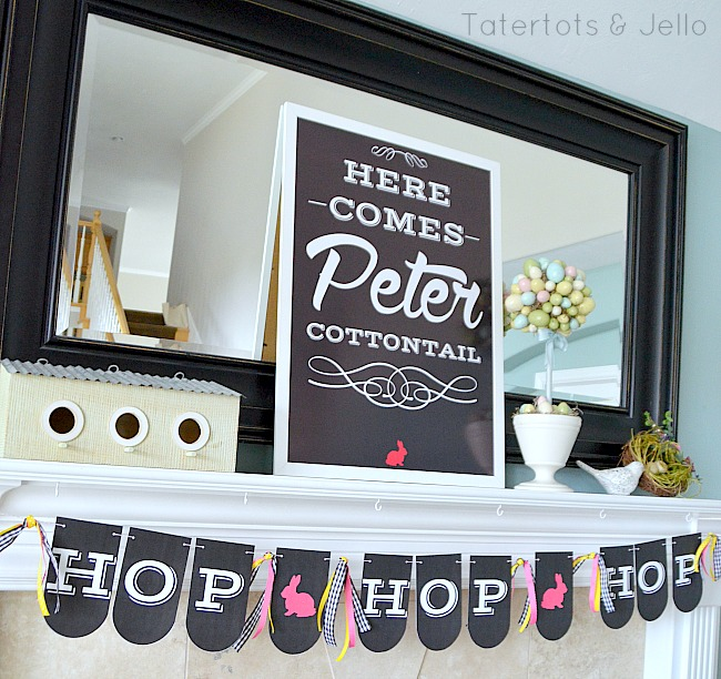 hop hop hop spring banner free printable at tatertots and jello