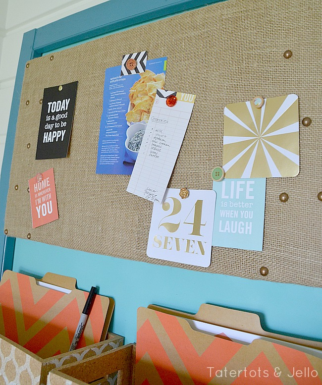 diy burlap corkboard and pushpin tutorial at tatertots and jello