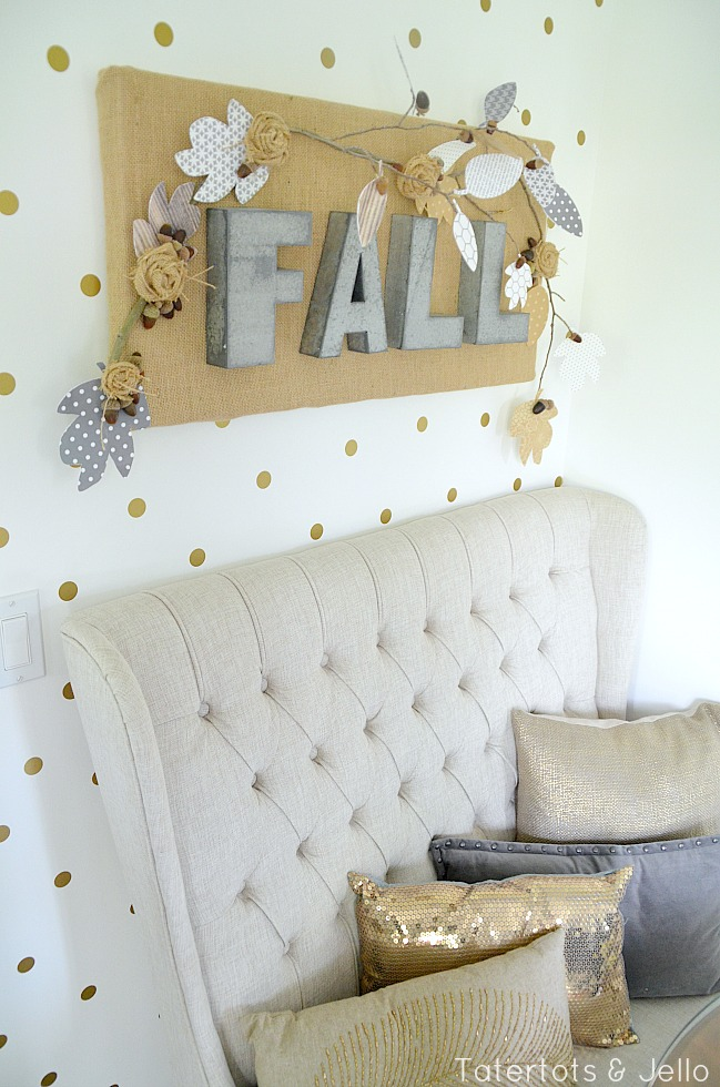 burlap and metal letter fall sign tutorial at tatertots and jello
