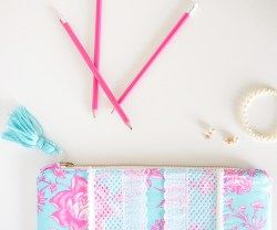 lilly-pulitzer-inspired-pom-pom-clutch