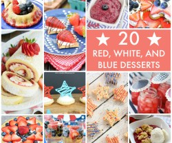 20 Red White and Blue Desserts Collage