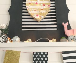Black, White and Gold Valentine's Day Mantel