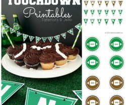 """Touchdown"" Party Pennants & Toppers [Free Printables]!"