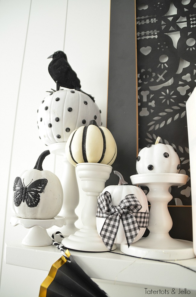 black and white neutral Halloween decorating. Halloween doesn't have to be orange and black. Celebrate this spooky season with black and white neutral decor. Project ideas!