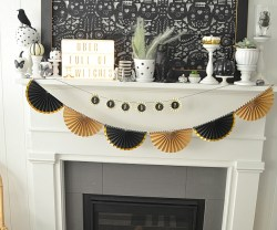 Black and White Neutral Halloween Mantel Decorating Ideas
