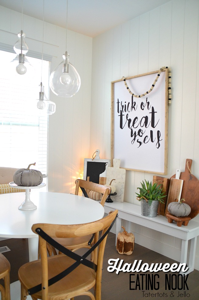 Modern Farmhouse Halloween Eating Area. Halloween doesn't have to be orange and purple. Incorporate Halloween into your farmhouse style with these ideas.