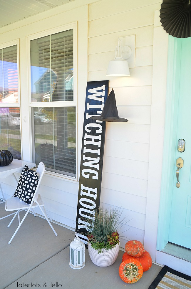 witching hour giant porch sign tutorial. Create a witch theme for your halloween home decor this year with a DIY sign, hanging hats and other spooky ideas!