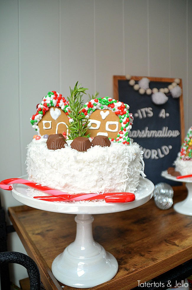 Mini Gingerbread Village Cakes. Add mini gingerbread cakes to the top ...