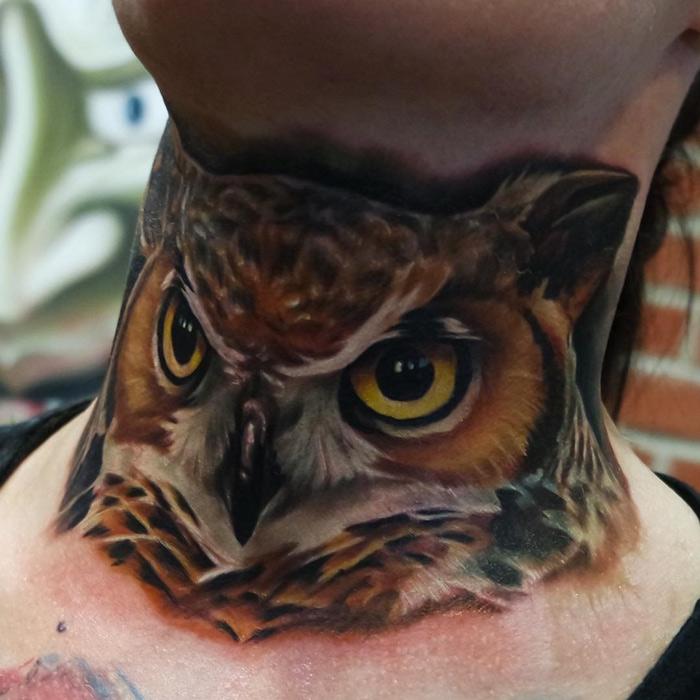 Bad Boy 3d Wallpaper Realism Owl Neck Tattoo Best Tattoo Design Ideas