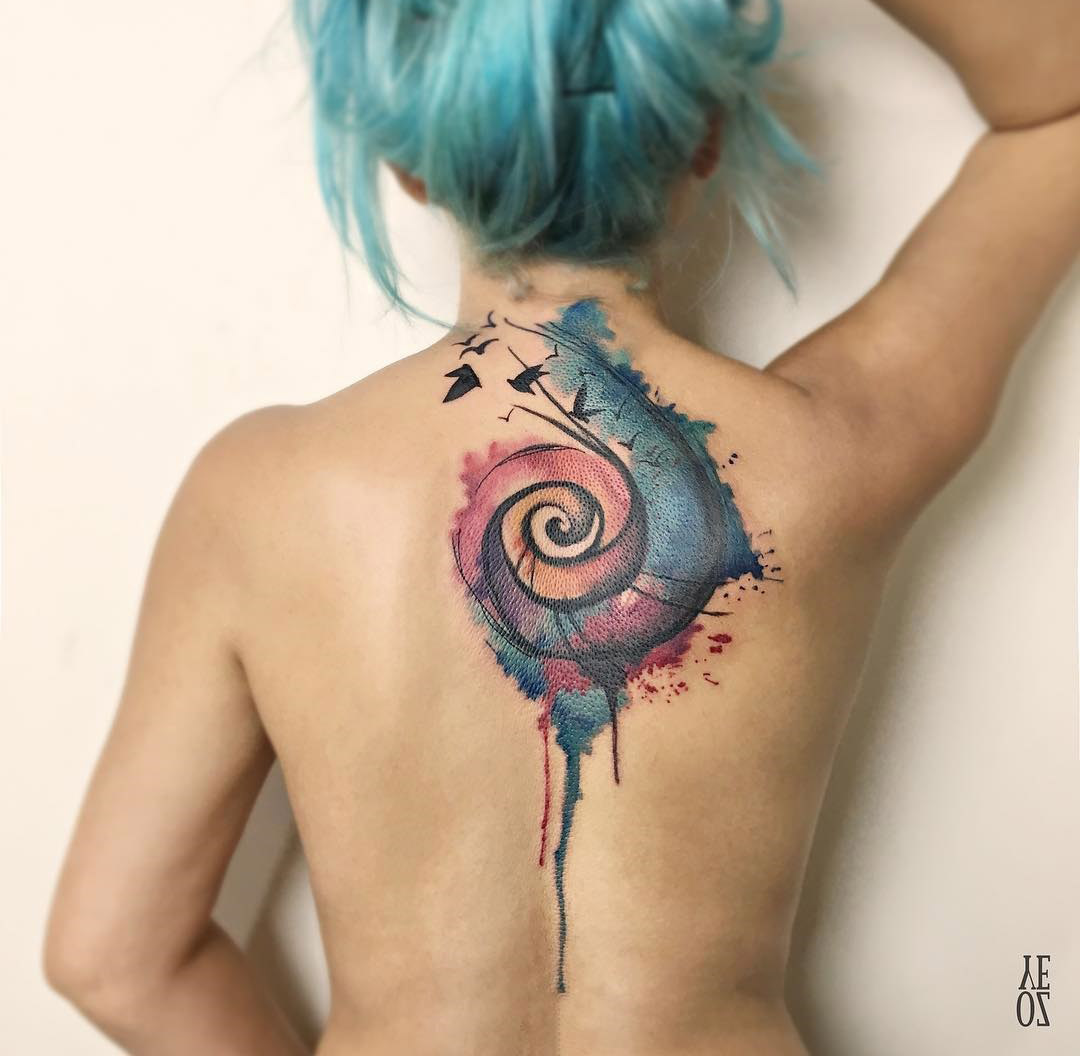 Tattoo Aquarell Colorful Spiral Back Piece With Birds Best Tattoo Design Ideas