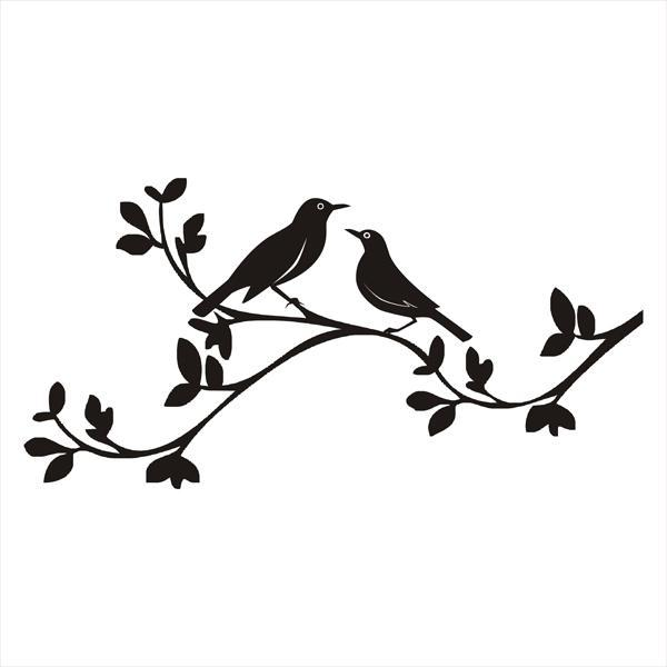 Cute Keychains Wallpapers Black Bird Couple Sitting On Leaf Branch Tattoo Design