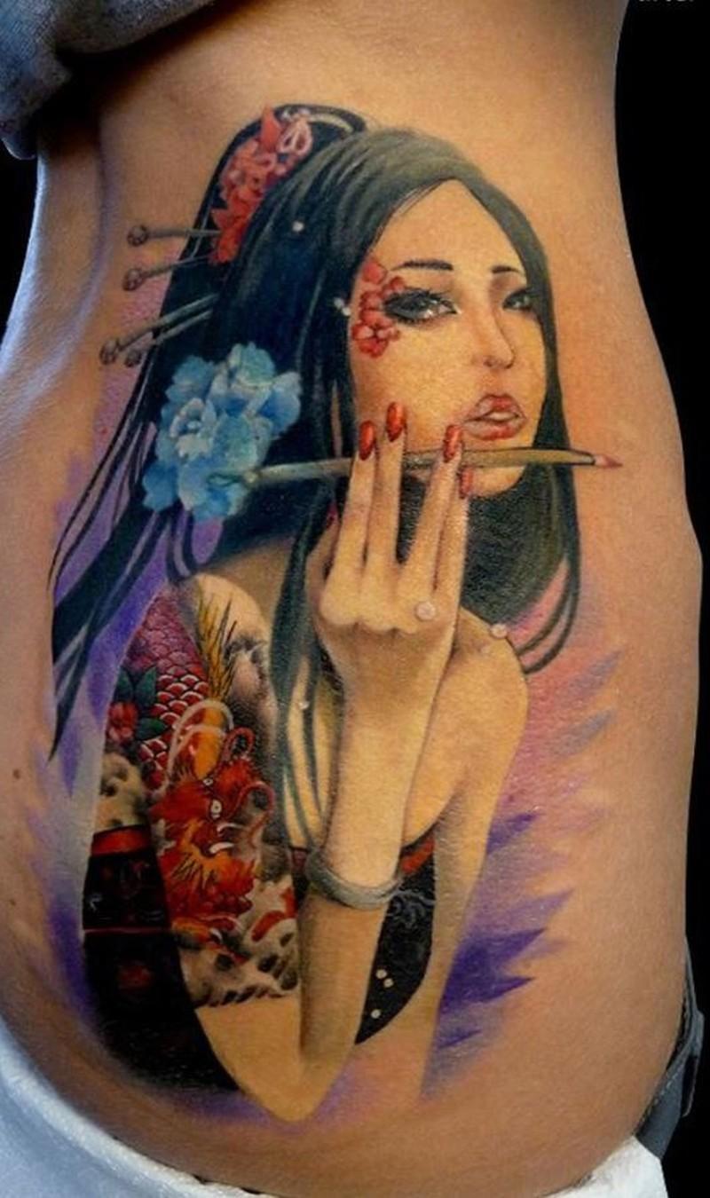 Elegant wonderful geisha tattoo in color 2