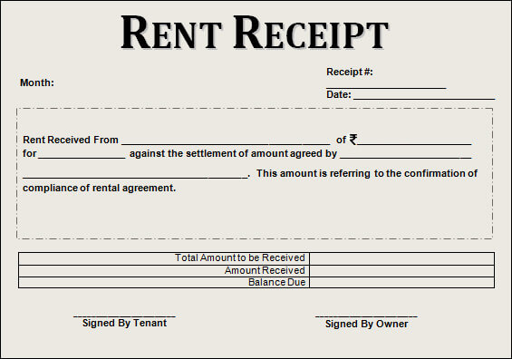 rent receipt format with revenue stamp