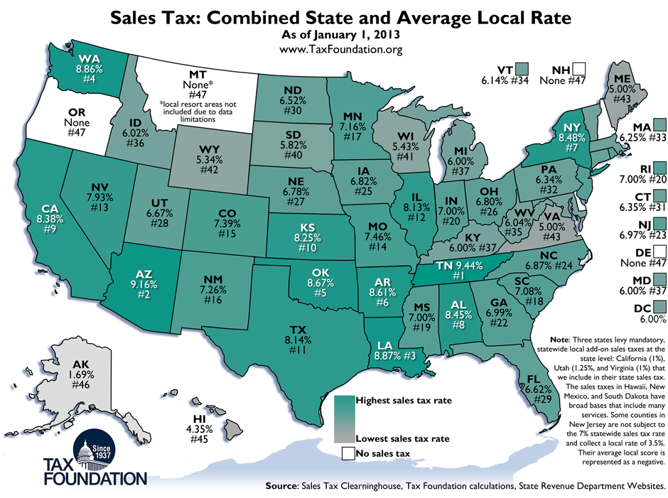 Weekly Map: State and Local Sales Tax Rates, 2013