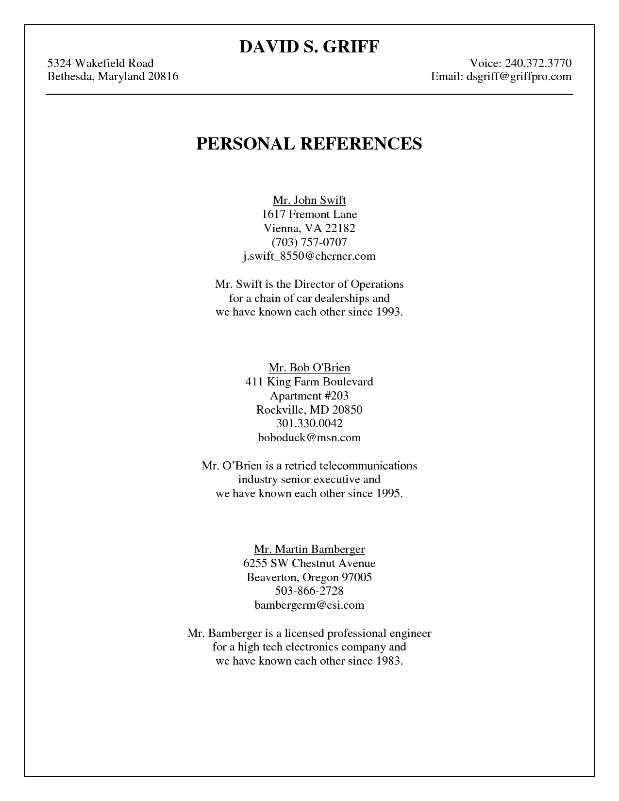 job reference page format online resume format job reference page format format a list of job references sample template page professional reference sheet