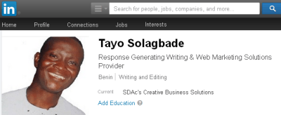 Screenshot of my new LinkedIn.com profile