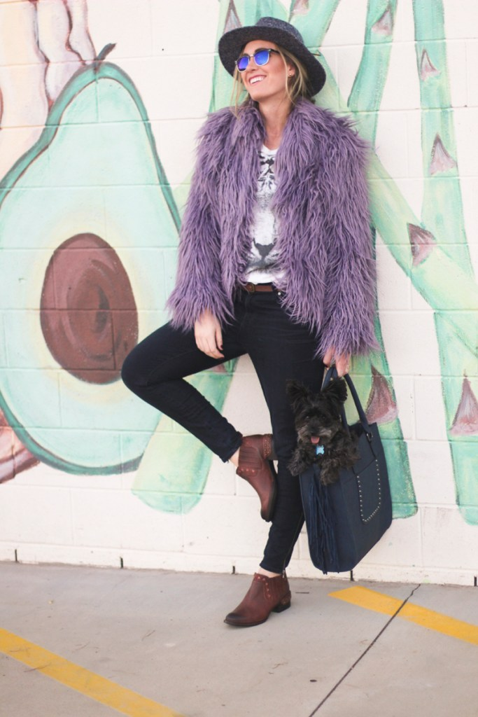 Picture of blogger, Tazia Lynne, wearing the FABULOUS FURS TIBETAN LAMB FAUX-FUR JACKET.