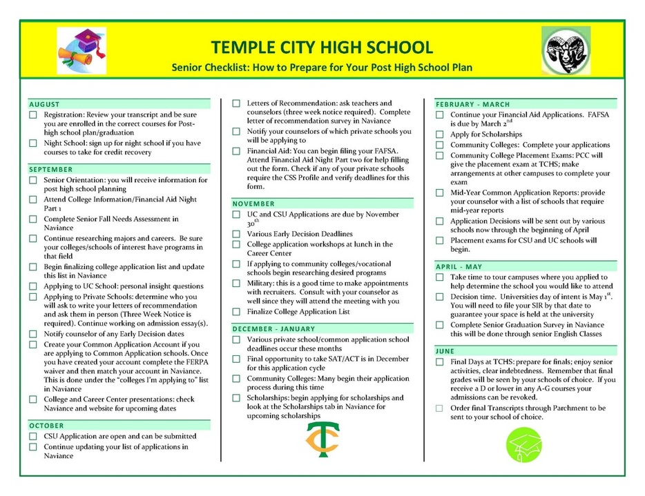 Seniors - Temple City High SchoolCounseling Department