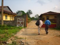 Students entering the Jonathan Ekong Memorial Seminary in Obot Edom, Nigeria