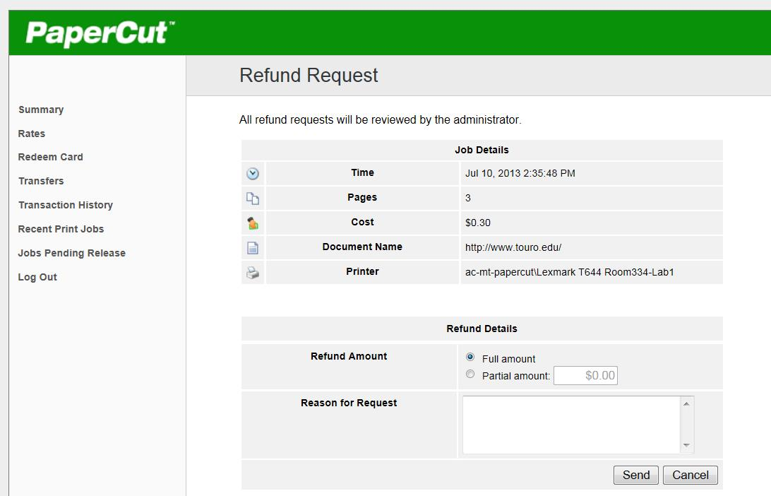 Everything you ever wanted to know about PaperCut \u2013 TC Library Blog - refund request form