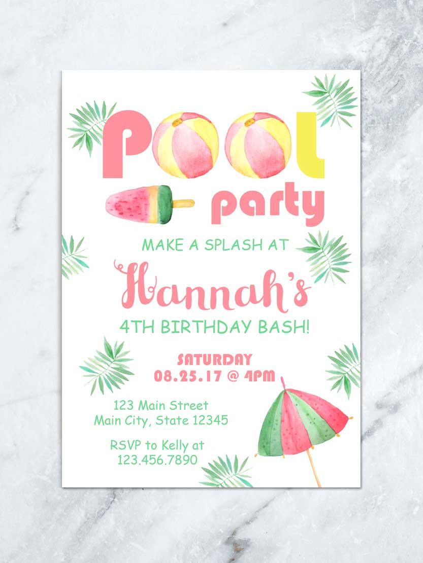 Comfy Ice Cream Party Summer Beach Birthday Splish Splashbirthday Girl Tropical Watercolor Digital File Ice Cream Party Summer Beach Birthday Splish wedding invitation Pool Party Invitations
