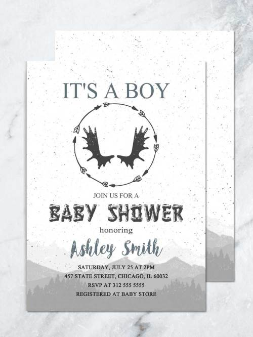 Medium Of Woodland Baby Shower Invitations