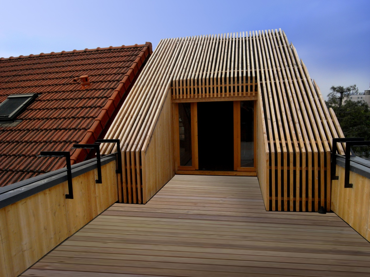 Toit Terrasse Maison Ancienne Extension Passive En Bois (2010) - T Design Architecture