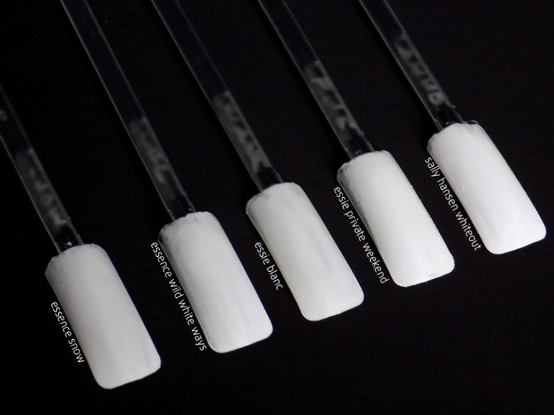 White Nail Polishes essie essence sally hansen