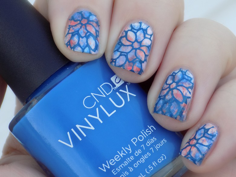 CND Vinylux Flirtation Smoosh Mani Stamped