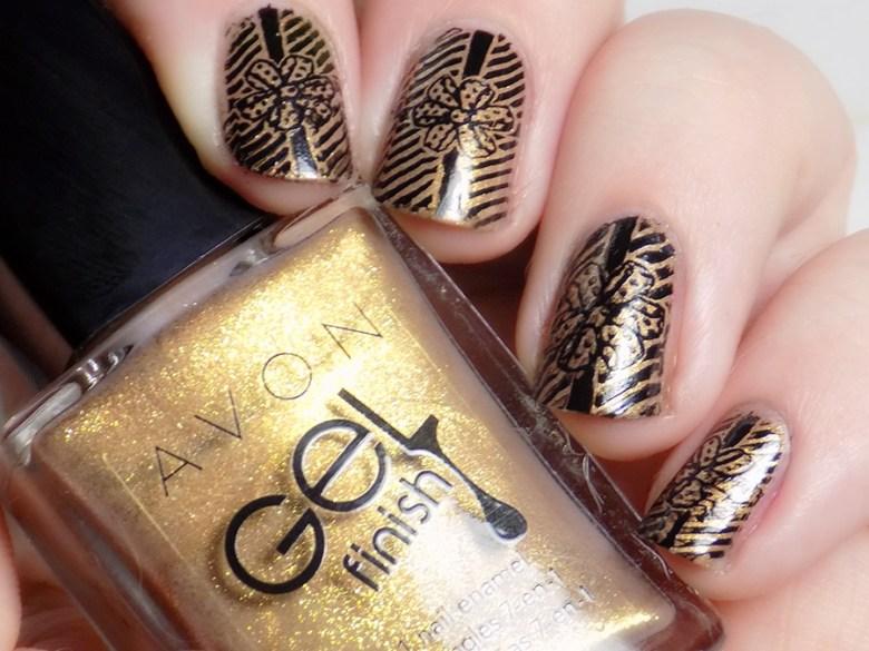 Avon Gel Finish Glimmer - Gift Style Ribbon Nail Art - Mdu Black