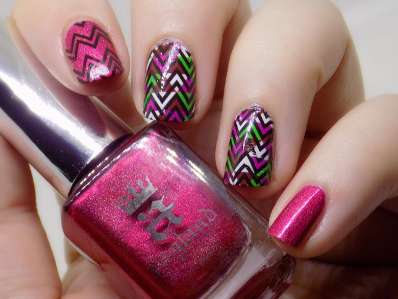 BP-Y03 Born Pretty Wave Design over A England Shall Be My Queen Swatches