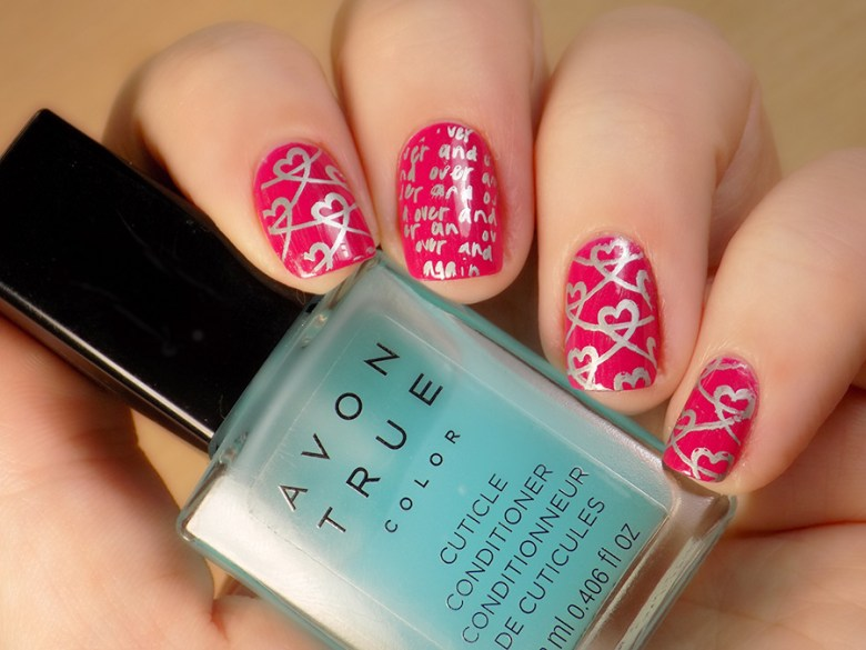 Valentines Day Nails OPI That's Berry Daring Stamped with Born Pretty Store BP-61 and BP-X08 Swatches