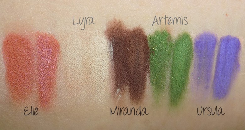 Holly Berry / HollyBerry Body Makeup - Eyeshadow Named Swatches - Ursula Artemis Elle Miranda Lyra