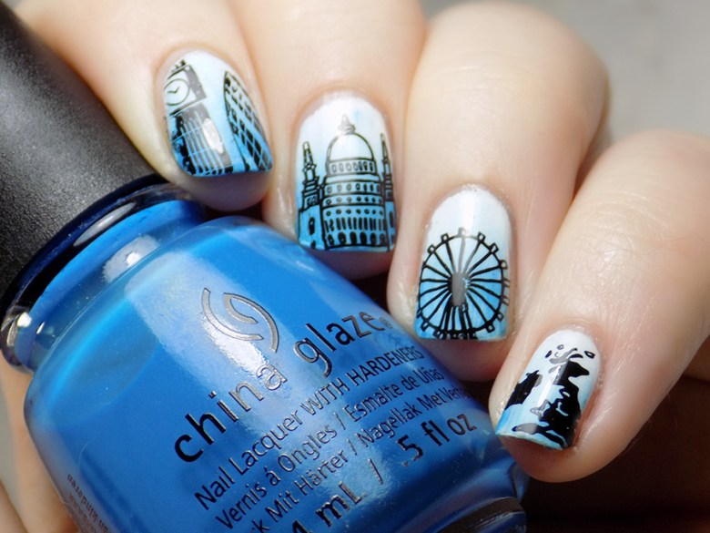 Born Pretty BP-L058 London Stamping Plate Mani - Big Ben Shard Map