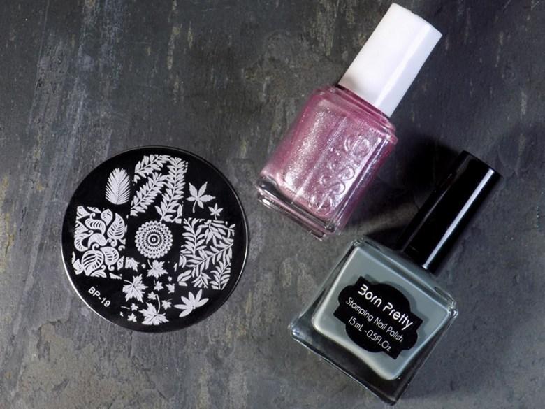 Essie Sil Vous Plait - Summer 2017 - Stamped with Born Pretty Grey BP19 leaf design supplies
