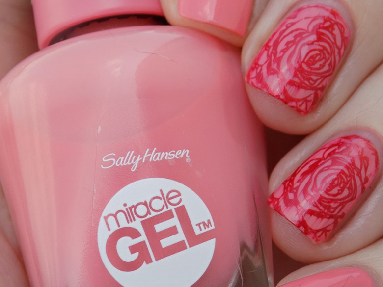 Sally Hansen Miracle Gel 180 Rosey Riviter Swatches - Stamped with Hit The Bottle Drop red Gorgeous and BPL001 - closeup