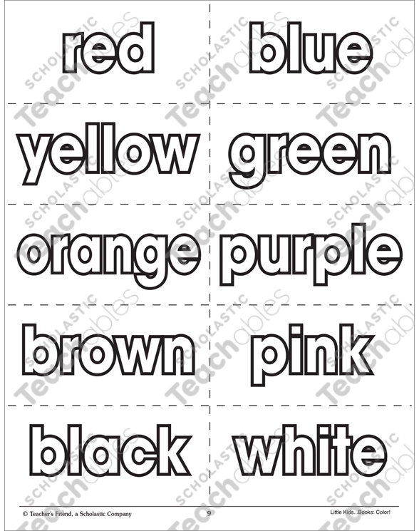 Color Words Flash Cards Printable Flash Cards and Coloring Pages